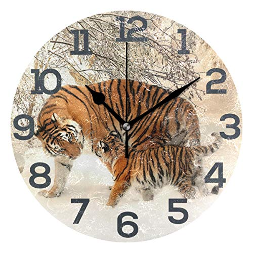 Senwei Forest Animal Tiger Wall Clock Acrylic Decorative Round Clock Art for Home Decor Bedroom Living Room