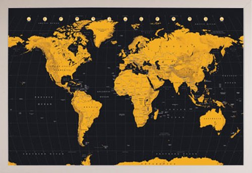 Wold Map Gold Poster in a White Plastic Frame  29295-PSA0341