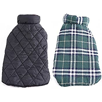 REXSONN Pet Dog cats Cozy Windproof Jacket Winter Warm Apparel Grid Plaid Reversible Coat Coats for small Puppy medium large dogs