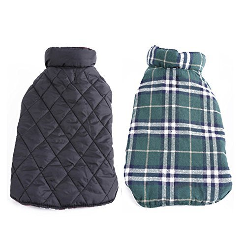 REXSONN Pet Dog cats Cozy Windproof Jacket Winter Warm Apparel Grid Plaid Reversible Coat Coats for small Puppy medium large dogs