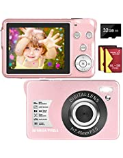 $47 » Digital Camera 30MP Camera 1080P Compact Camera 2.7 inch Pocket Camera,8X Digital Zoom Rechargeable Small Digital Cameras for Kids, Students, Teens,Beginners with 32GB SD Card and 2 Batteries