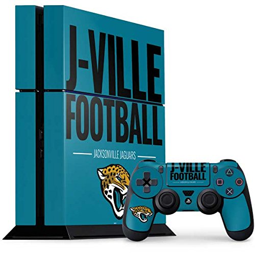 Skinit NFL Jacksonville Jaguars PS4 Console and Controller Bundle Skin - Jacksonville Jaguars Team Motto Design - Ultra Thin, Lightweight Vinyl Decal Protection