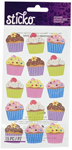Sticko Bright Vellum and Glitter Cupcakes Stickers ()