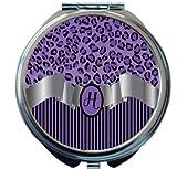 Rikki Knight Letter''H'' Purple Leopard Print Stripes Monogram Design Round Compact Mirror
