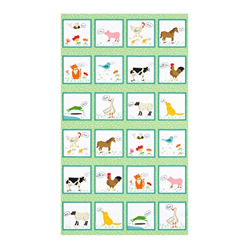 Robert Kaufman What Do The Animals Say Country 24'' Panel Farm Animals Fabric, Multicolor