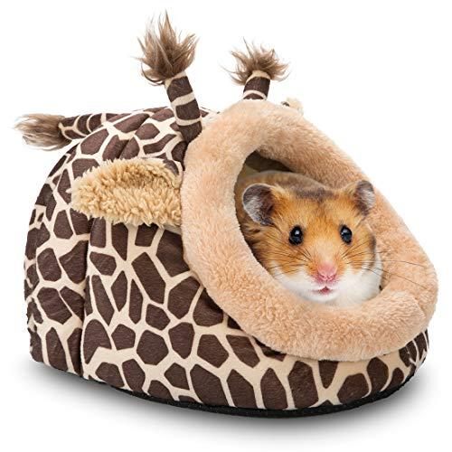 Hollypet Warm Small Pet Animals Bed Dutch Pig Hamster Cotton Nest Hedgehog Rat Chinchilla Guinea Habitat Mini House, Brown Giraffe