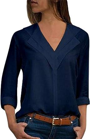 Minetom Blusa Mujer Chiffon Camisa De Manga Larga Elegante Otoño Cómodo Cuello V Básico Slim Fit Tops Color Sólido: Amazon.es: Ropa y accesorios