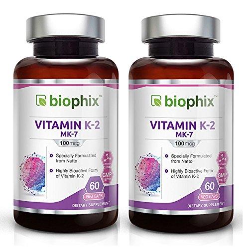2 MK-7 Vitamin K-2-60 Vcaps 100 mcg Pack - High-Potency | Strong Bones | Immune Health | Support for D3 - 50 Mcg 90 Tablets
