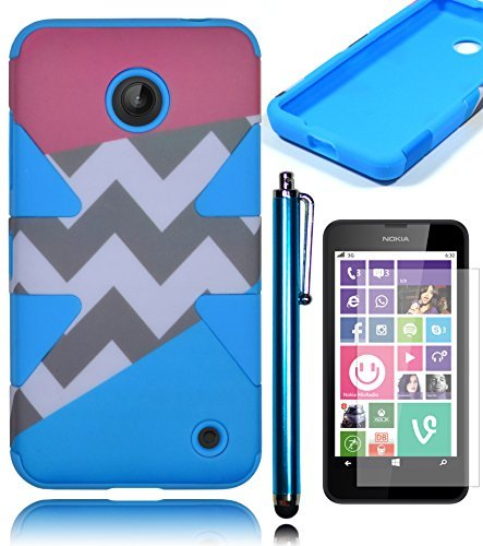 Bastex Heavy Duty Dynamic Hybrid Hard Defender Case for Nokia Lumia 635 - Sky Blue Silicone Cover with Pink Aztec Tribal Print Chevron Design ShellINCLUDES SCREEN PROTECTOR AND STYLUS (Pink Case Nokia 635 Phone)