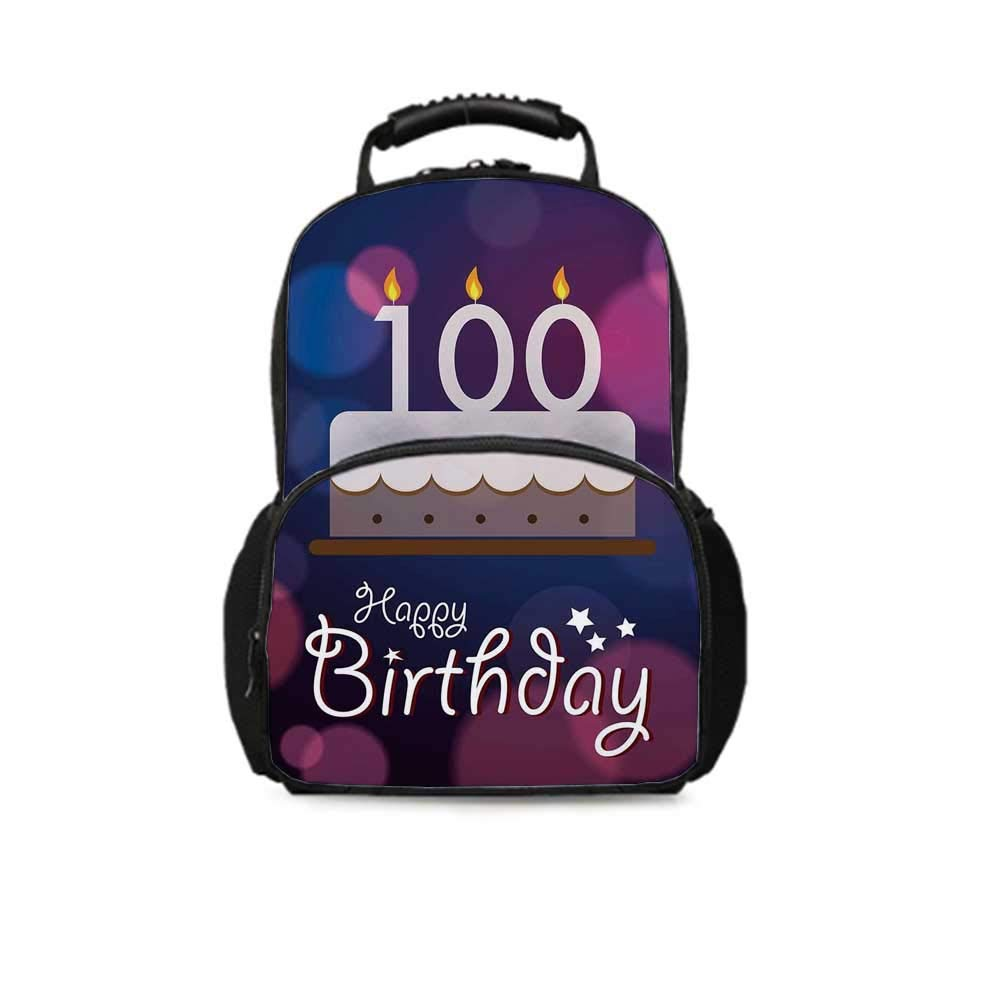 100th Birthday Decorations Leisure School Bag,Cartoon Print Cake and Candles on Abstract Backdrop Image for School Travel,One_Size
