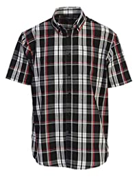Gioberti Mens Casual Plaid Checked Short Sleeve Button Down Dress Shirt