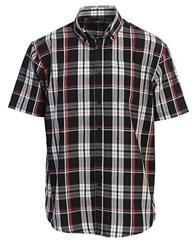 Gioberti Men's Plaid Short Sleeve Shirt, Red/Black/Charcoal, Medium