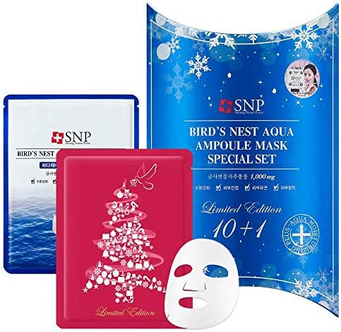 SNP - Christmas Edition Bird's Nest Aqua Ampoule Moisturizing Sheet Mask Gift Set for Women - Limited Release Run - 10 Sheets + 1 Special Holiday Sheet - Best Gift Idea for Mom, Girlfriend, Wife, Her