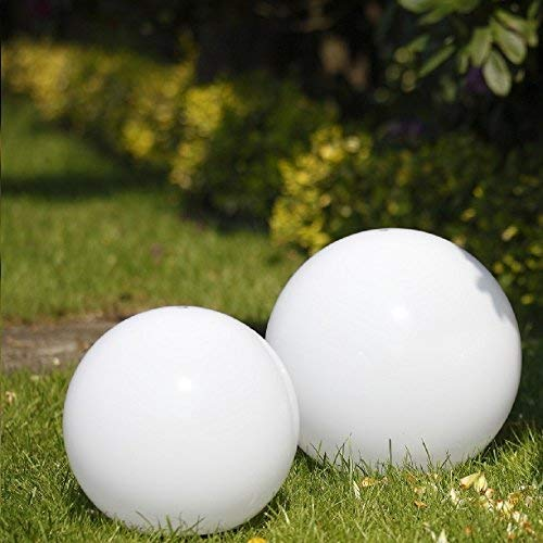 2 juego de pelota del resplandor para su Jardín Bolas en Ø15cm, Ø25cm Luces con 2m Cuerda de goma y enchufe Iluminación de exterior de resistente al impacto Acrílico LHG