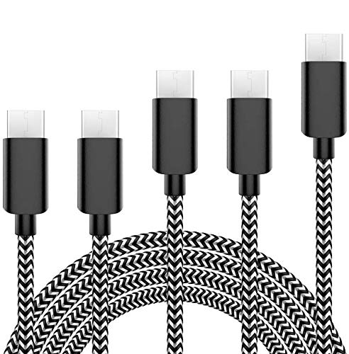 USB Type C Cable 5Pack (3/3/6/6/10FT) Nylon Braided USB C Cable Fast Charger Charging Cord Compatible Samsung Galaxy S9 S8 Note 9 Note 8 Plus,LG V30 G6 G5 V20,Google Pixel, Moto Z2-Black&White