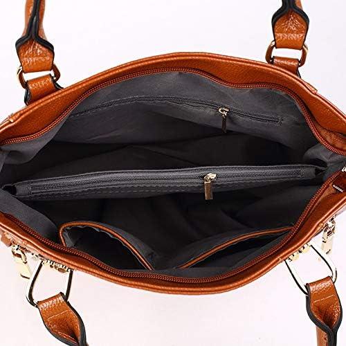 AODEK Ladies Shoulder Bag PU Lychee Solid Color Simple Large Capacity Messenger Bag