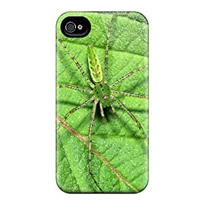 Durable Protector Case Cover With Green Spider Hot Design For Iphone 4/4s