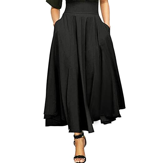 ShiTou Falda, Side Split Goddess Fan Half Body Fluttering Dress Half Length Skirt (Black