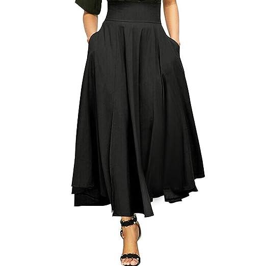 ShiTou Falda, Side Split Goddess Fan Half Body Fluttering Dress Half Length Skirt (Black