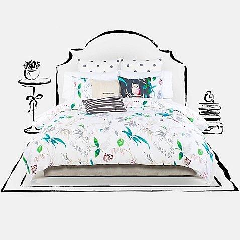 Kate Spade Trellis Blooms Queen/Full Duvet Cover Set, Blue Green - Bloom Bedding Set