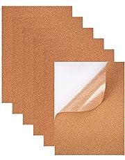 BENECREAT Set van 8 zelfklevende kurk-rechthoekige isolerende kurkplaten voor vloeren, muren, doe-het-zelf, stansen, knutselprojecten, 21 x 30 cm