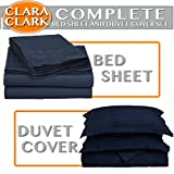 Clara Clark Bed Sheet and Duvet Cover Set Complete 7 Piece, Navy Dark Blue, King, 7