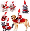 Idepet Dog Santa Claus Riding Christmas Costume Funny Pet Cowboy Rider Horse Designed Dogs Cats Outfit Clothes Apparel Party Dress up Clothing Christmas Halloween