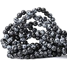 Qiwan 45PCS 8mm Natural Snowflake Obsidian Gemstone Round Loose Beads for DIY Jewelry Making 1 Strand 15""