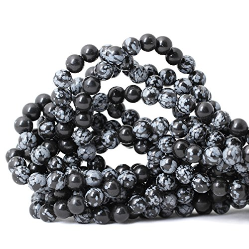 Qiwan 45PCS 8mm Natural Snowflake Obsidian Gemstone Round Loose Beads for DIY Jewelry Making 1 Strand 15