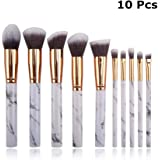 Makeup Brush Sets, 10 Pcs Marble Makeup Brushes White for Foundation, Eyeshadow, Contour, Blush, Loose Powder and Shade Cosmetic Tool