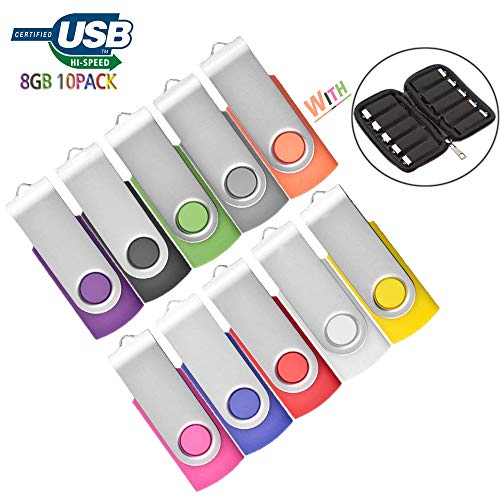 8GB USB Flash Drive 10 Pack with Easy-Storage Bag Memory Stick JBOS Swivel Thumb Drives Gig Stick USB2.0 Pen Drive for Fold Digital Date Storage, Zip Drive, Jump Drive, Flash Stick, Mixed Colors by JBOS