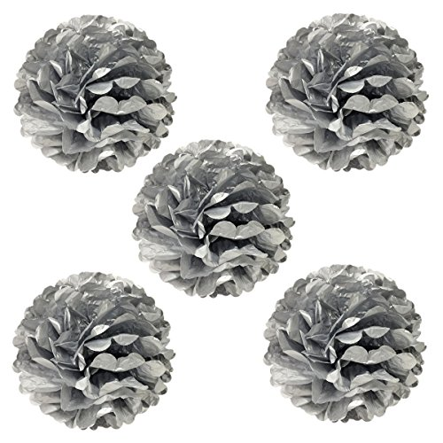 Wrapables Tissue Pom Poms Party Decorations for Weddings, Birthday Parties and Baby Showers, 8-Inch, Metallic Silver, Set of 5 (Metallic Flower)