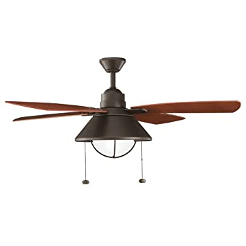 Captivating Kichler 310131OZ, Seaside, 54u0026quot; Outdoor Ceiling Fan With Light, Olde  Bronze