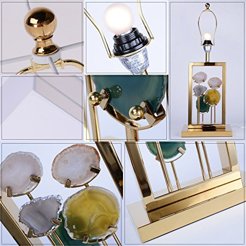 Side Table Lamp Brlighitng Unique Designed Room Lamp in Luxury Agate Pieces Gold Base for Bedside Lamp Living Room Office Decor by BRLIGHTING (Image #4)