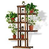 LIZX Solid Wood Flower Rack 6 Tier Of Asymmetric Wooden Flower Pots Rack Living Room Balcony Storage Shelf (3 Colors) ( Color : A )
