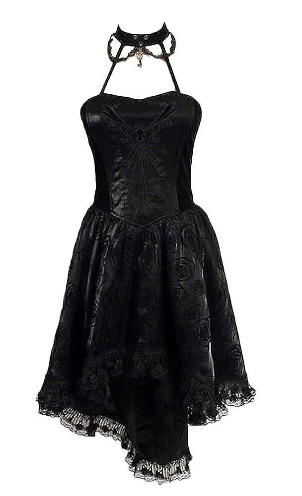 Schwarzen Kleid zu Halsreif und Motiv Schwarze Rose und Spitze q-134