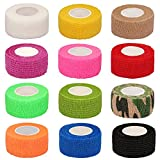 CIEHER 12 Pieces Self Adhesive Bandages, Self-Adherent Cohesive Tape, Strong Sports Tape for Wrist, Ankle Sprains & Swelling,Self-Adhesive Bandage Rolls (1 Inch X 5 Yards,12 Colors)