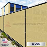 Windscreen4less Heavy Duty Privacy Screen Fence in Color Beige with White Stripes 6' x 50' Brass Grommets w/3-Year Warranty 130 GSM (Customized Sizes Available)