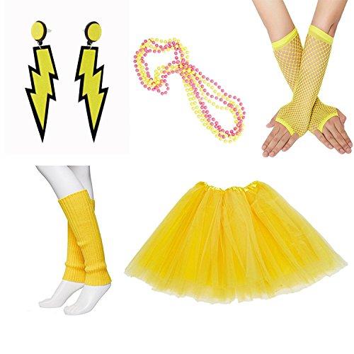 80s Fancy Outfit Costume Accessories Set,Adult Tutu Skirt,Leg