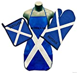 Scottish Saint Andrew's Cross Flag Kitchen & BBQ Set *New* w/ Apron, Oven-mitt & Pot-holder Scotland the Saltire
