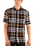Zotory Mens Casual Full Sleeve Cotton Checkered Shirts Black&Orange Color (137)