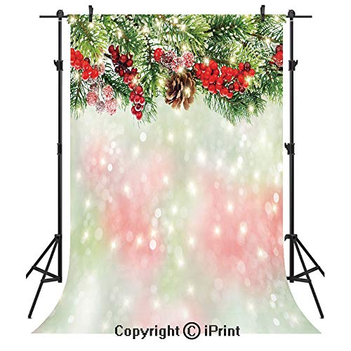 Christmas Photography Backdrops,Evergreen Fir Branches with Red Ripe Holly Berries Blurred Backdrop Garland Decorative,Birthday Party Seamless Photo Studio Booth Background Banner 3x5ft,Red Green Brow