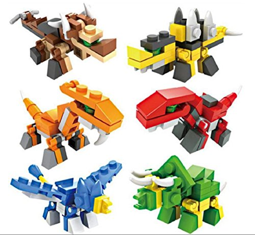 (3D Mini Dinosaur Deformation Toys, 6 Building Block Sets (197 Pcs), Best Toy Gift for Kids, Children, Boys- Velociraptor, Pterosauria, Plesiosaur and More!)