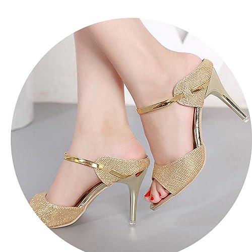eba6810aa1a elepbaba Pumps Small Heels Wedding Shoes Gold Silver Stiletto High Heels  Peep Toe Women Heel Sandals Ladies Shoes  Amazon.ca  Shoes   Handbags