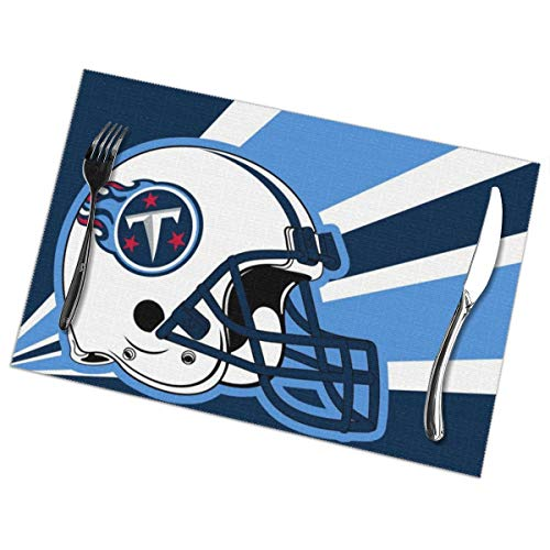 Titan 6' Coffee - Marrytiny Custom Colourful Placemats Heat Resistant Table Mats Tennessee Titans Football Team 100% Polyester Dining Table Set of 6 Kitchen Coffee Mat 12 x 18 Inch