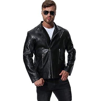 MISSMAOM Chaqueta de Cuero para Hombre Moto o Motocicleta Biker Moto Abrigo: Amazon.es: Ropa y accesorios
