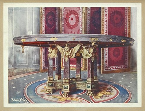 Historic 1910 print   Circular table of various marbles, with chased gilt mounts. French: style of the   Vintage Print Reproduction   Decoration and ornament   Furniture   History   Tables   Screens - French Gilt