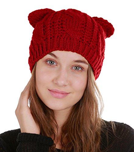 Urban CoCo Women's Winter Knitted Hat Crochet Cat Ear Beanie Cap (Red) ()