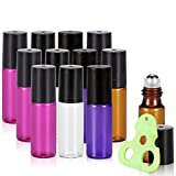 Olilia Glass Roll on Bottles with Metal Roller Balls, Essential Oils Opener included 12 Pack of 5ml (Mixed Color)