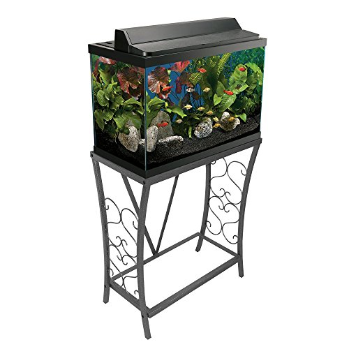 Aquatic Fundamentals 20 gallon Scroll Aquarium Stand, Silver (20 Gallon Fish Tank Stand)